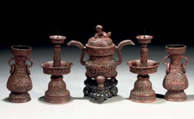 A cinnabar lacquer five-piece