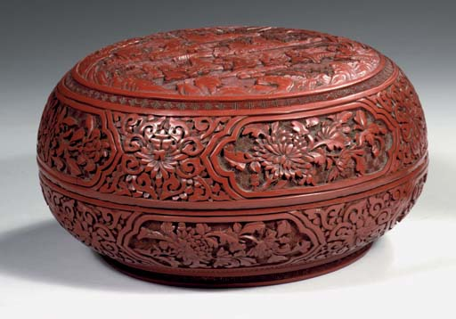 A large cinnabar lacquer box a