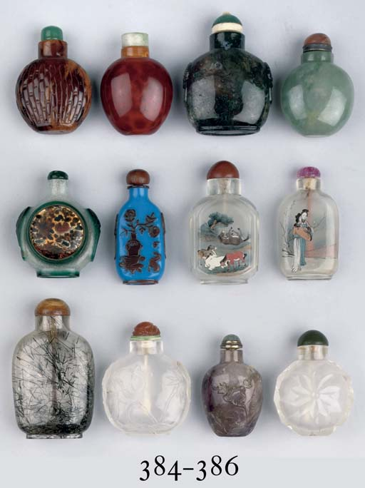 Four crystal snuff bottles