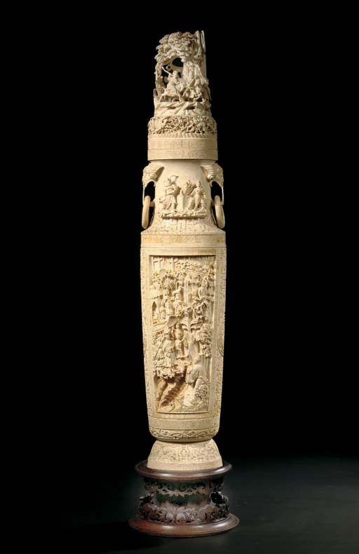 A large ivory vase and cover