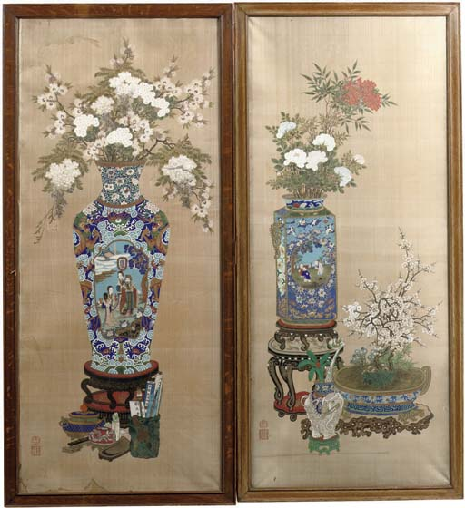 A pair of 'flower-vase' painti