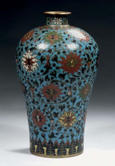 A cloisonne enamel vase, Meipi