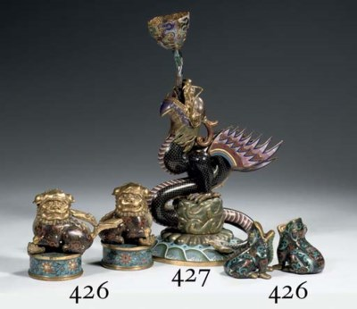 A group of cloisonne figure an