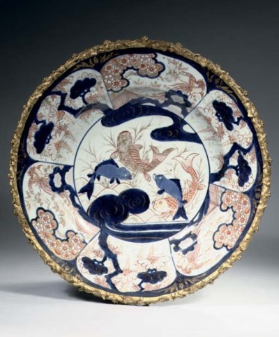 An ormolu-mounted Imari charge