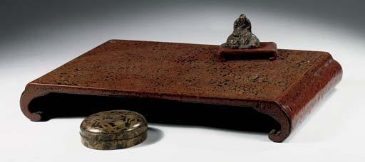 A lacquer box, stand and bronz