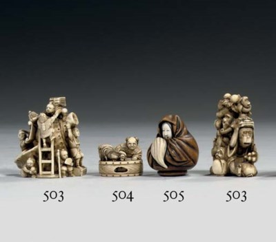 A wood and ivory netsuke