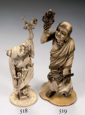 An ivory carving of a an arhat