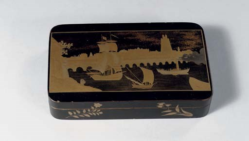 A metal lacquered box and cove