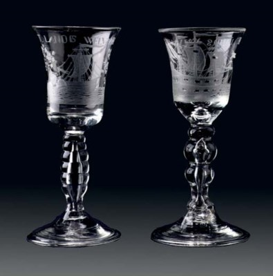 Two Dutch-engraved goblets