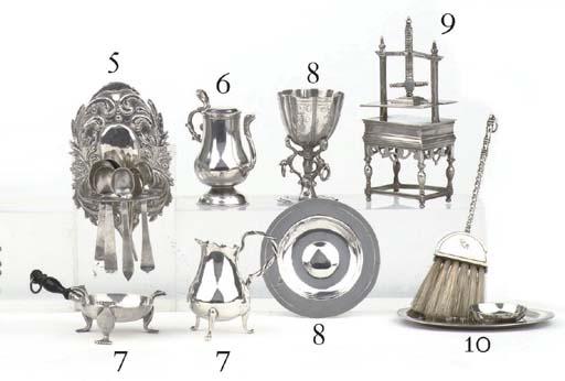 A Dutch silver miniature brazier and milk-jug