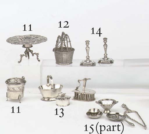 A Dutch silver miniature tureen with cover, a mousetrap and a basket
