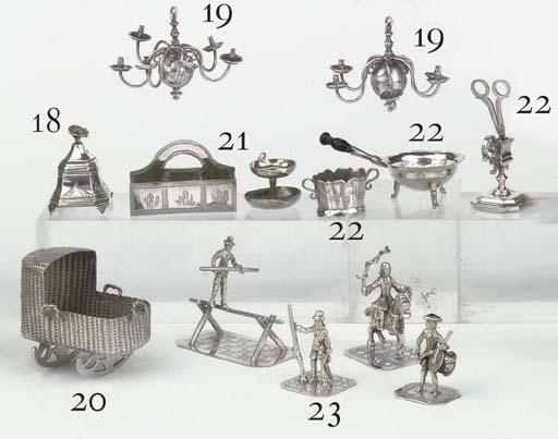 A rare pair of Dutch silver miniature six-light chandeliers