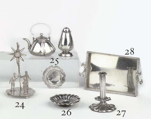 A Dutch silver miniature tea-kettle, caster and dish