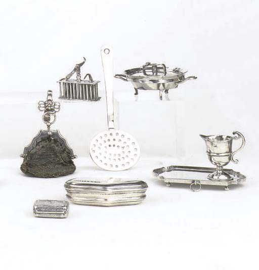 Seven various Dutch silver miniature toys and an English vinaigrette