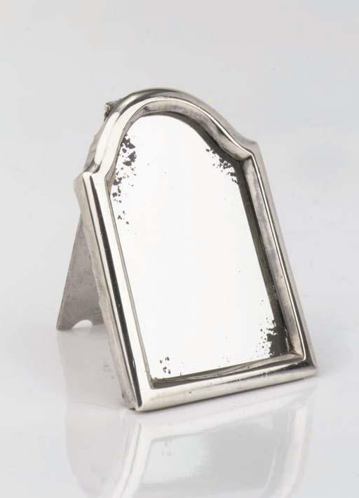 A Dutch silver-mounted miniature mirror