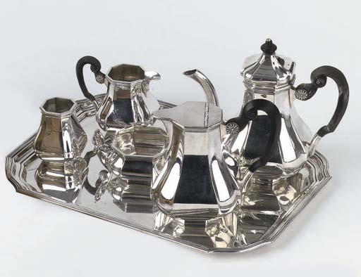 A Dutch silver five-piece coffee service with matching tray