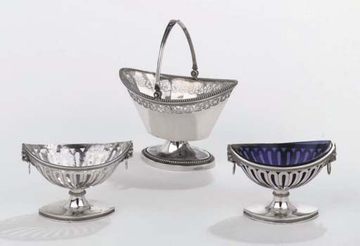 A Dutch silver sweetmeat basket and a pair of French silver salt-cellars
