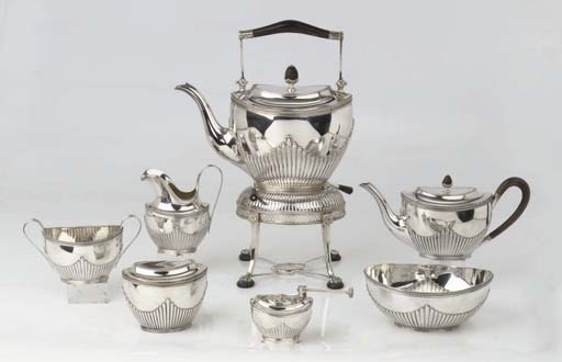 A Dutch silver six-piece tea service