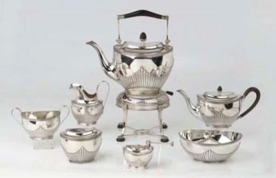 A Dutch silver six-piece tea s