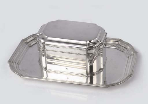 A Dutch silver biscuit box on tray