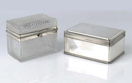 A Dutch silver biscuit box and a silver-mounted tea-caddy