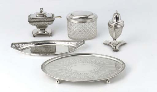 A Dutch silver tray, pen tray and a silver-mounted tea-caddy, caster and mustard pot