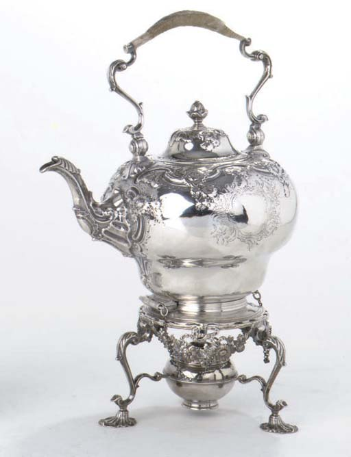 A George II English silver tea kettle on stand with lamp