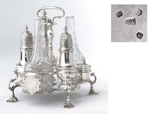 An english silver George II warwick cruet-frame