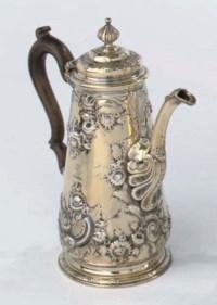 An english silver George II coffee-pot