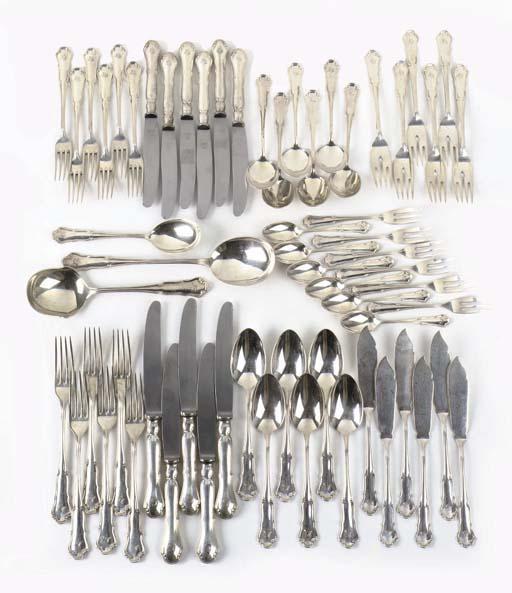 A German silver flatware service