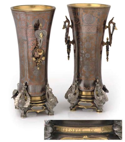 A pair of unusual french silve