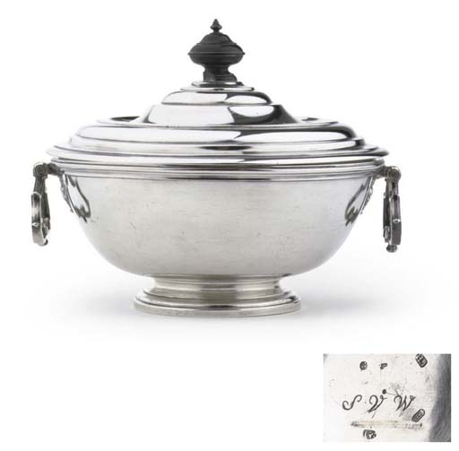 An unusual Dutch silver two-handled tureen with cover