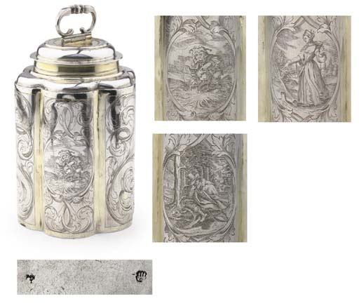 A fine German silver and silver-gilt canister