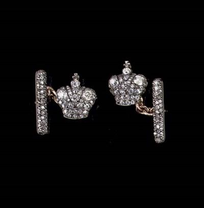 A PAIR OF RUSSIAN DIAMOND CUFF
