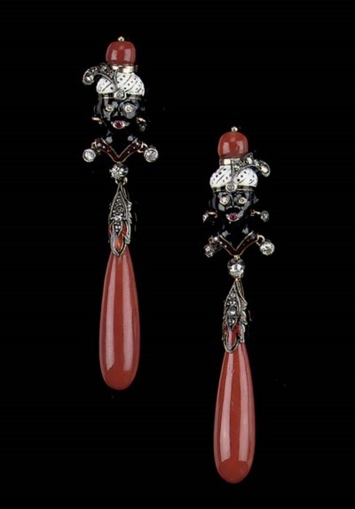 A PAIR OF ENAMEL, CORAL AND DI