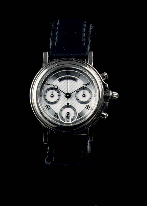 A LADY'S 18K WHITE GOLD AUTOMATIC CHRONOGRAPH WRISTWATCH WITH DATE, BY BREGUET