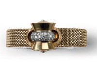 A RETRO LADY'S DIAMOND WRISTWATCH, SWISS, BY SOLVIL