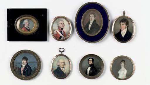 Eight various portrait miniatu