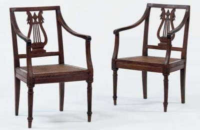 A PAIR OF ITALIAN WALNUT ARMCH