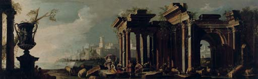 A 'capriccio' view of an Italianate coast with figures conversing among ancient ruins, a harbour town beyond