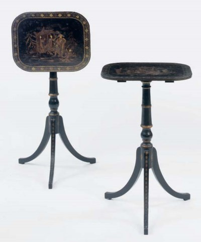 A PAIR OF REGENCY GILT AND BLA