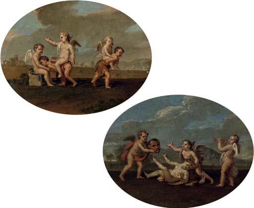 Putti playing piggy-back-ride in a landscape; and Putti playing with a mask and playing the trumpet