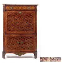 A LOUIS XVI ORMOLU-MOUNTED ROSEWOOD, TULIPWOOD, SYCAMORE AND FRUITWOOD PARQUETRY SECRETAIRE A ABATTANT