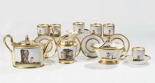 A Paris porcelain gilt part te