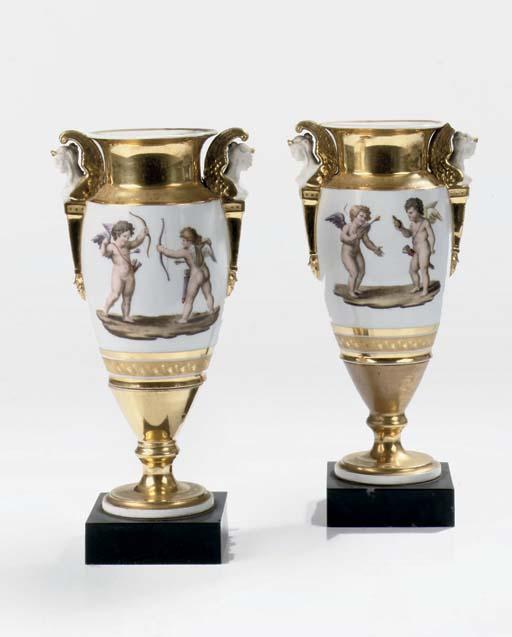 A pair of Paris porcelain gilt