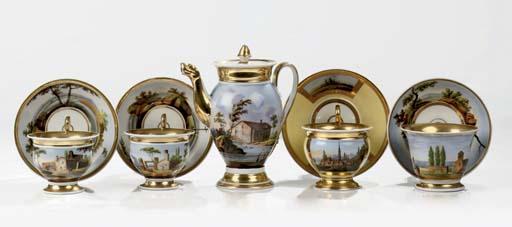 Four Paris porcelain gilt cabi