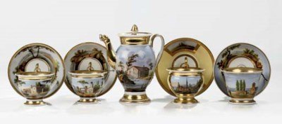 Four Paris porcelain gilt cabi