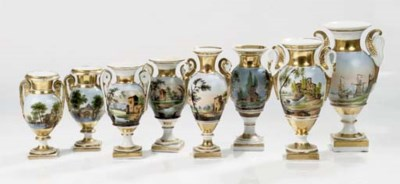 Ten Paris or Italian porcelain