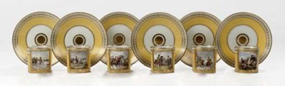 A set of six French porcelain