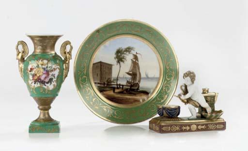Three Paris or Italian porcela